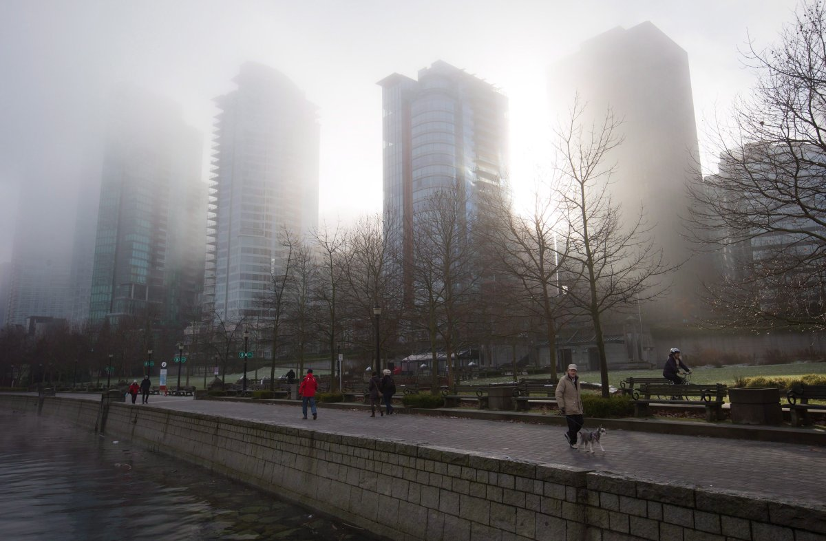 Condo towers are shrouded in dense fog as a man walks a dog along the seawall in downtown Vancouver, B.C., on Sunday January 3, 2016.