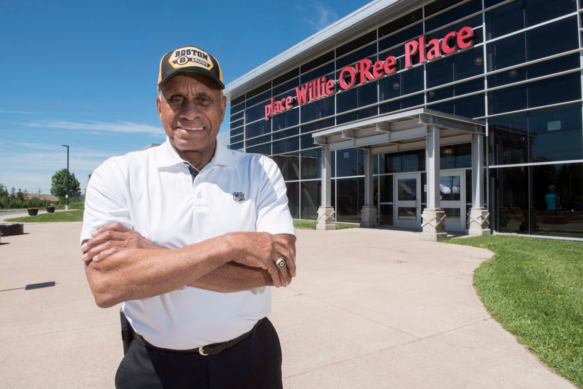 Willie O'Ree, known best for being the first black player in the National Hockey League, is shown at Willie O'Ree Place in Fredericton, N.B., on Thursday, June 22, 2017.
