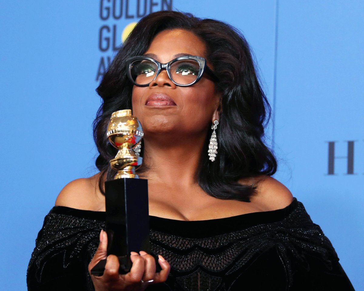 Oprah Winfrey holds the 2018 Golden Globe Cecil B. DeMille Award in the press room during the 75th annual Golden Globe Awards ceremony at the Beverly Hilton Hotel in Beverly Hills, California, USA, 07 Jan. 2018.