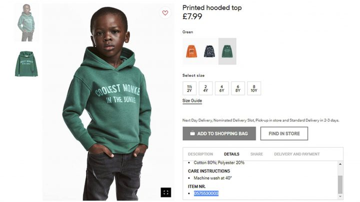 "An undated photo of an advert for a hoodie by H&M. Clothing giant H&M has apologized Monday, Jan. 8, 2017, and removed an advertising image of a black model in a sweatshirt with the words ""Coolest monkey in the jungle.'' The brand removed the image, but kept in place other designs modeled by white children."