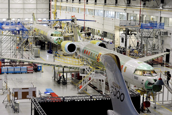 People tour the Bombardier Global 7000 aircraft and facility in Toronto on Tuesday, November 3, 2015.