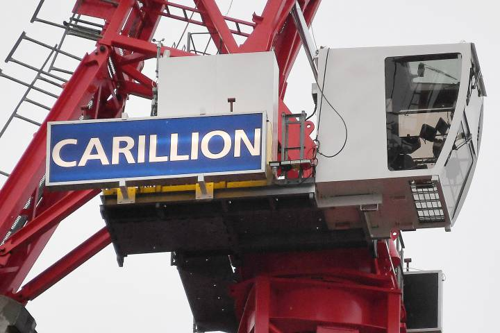 A Carillion crane at a construction site in London, Britain.