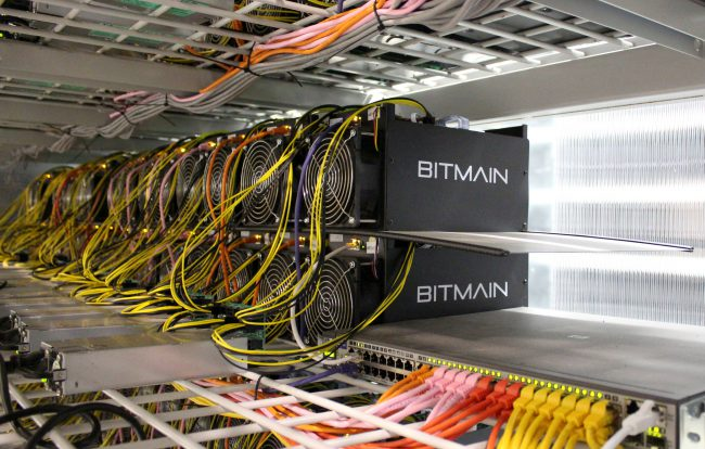 Bitcoin mining computers are pictured in Bitmain's mining farm near Keflavik, Iceland, June 4, 2016.