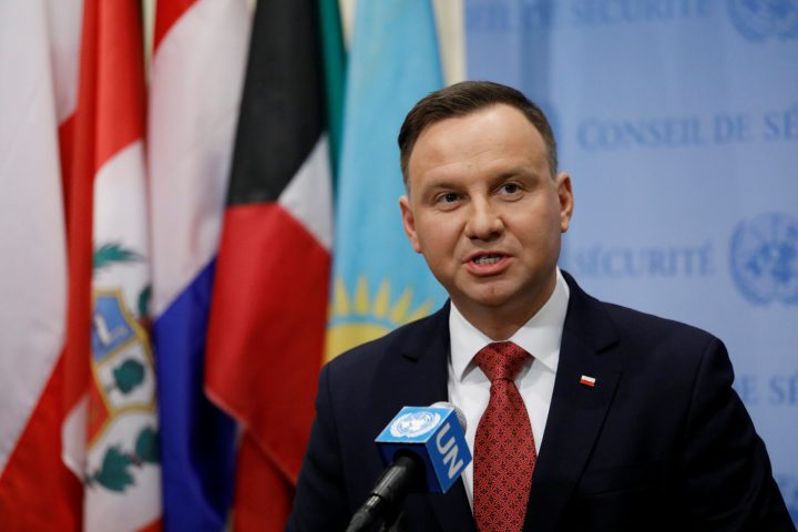 Poland's President Andrzej Duda speaks after a Security Council meeting on nonproliferation of weapons of mass destruction at the United Nations in New York on Jan. 18.