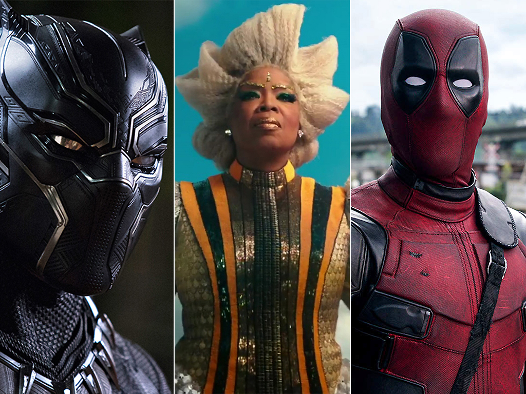 From L-R: 'Black Panther,' 'A Wrinkle in Time,' and 'Deadpool 2.'.