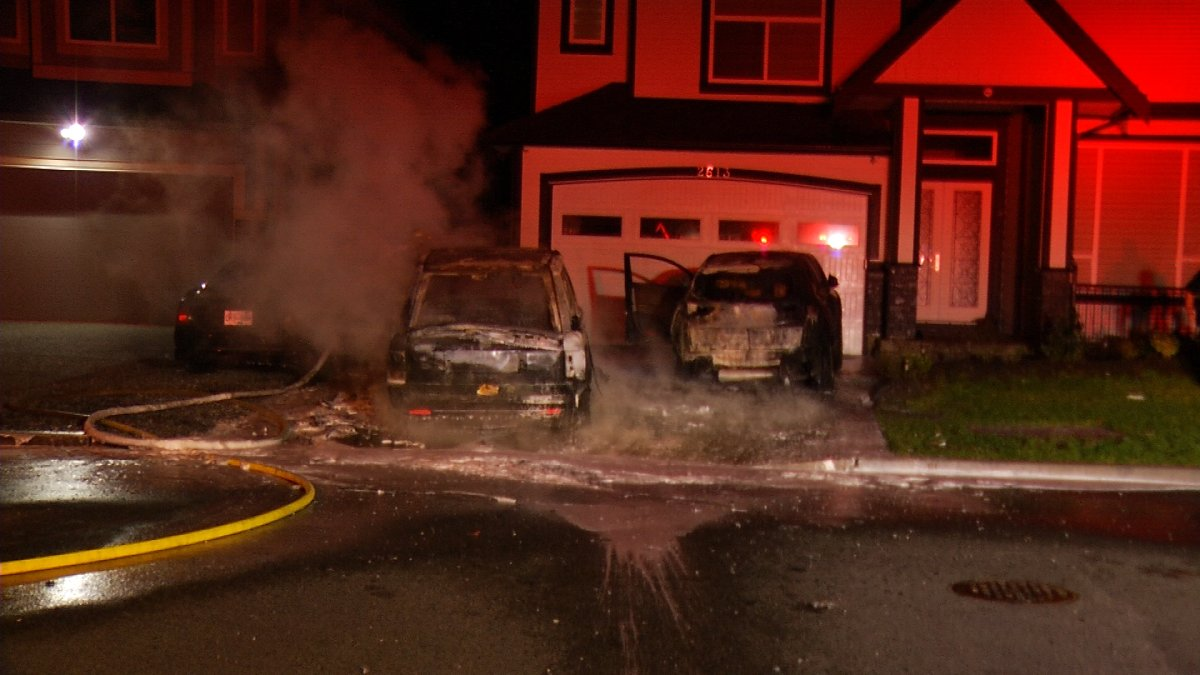 Abbotsford Fire crews work to put out a blaze early Wednesday, January 17, 2018.