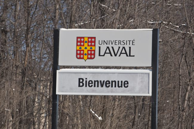 A Universite Laval sign welcomes visitors to the campus in Quebec City Feb. 24, 2009.