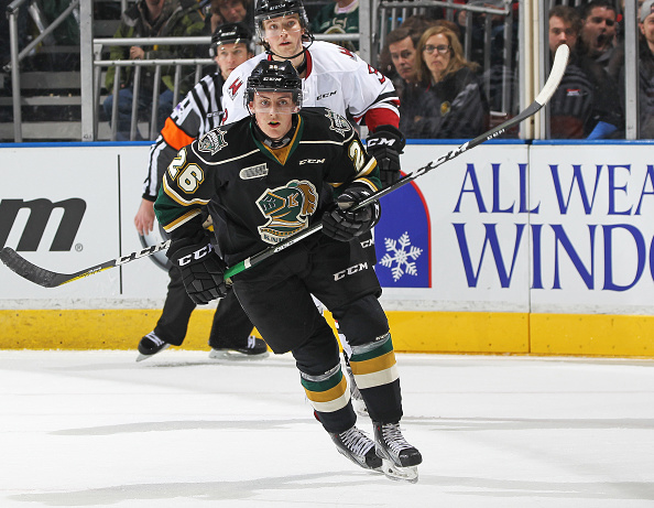 LONDON, ON - Josh Nelson #26 of the London Knights skates against the Guelph Storm during an OHL game at Budweiser Gardens. (Photo by Claus Andersen/Getty Images).