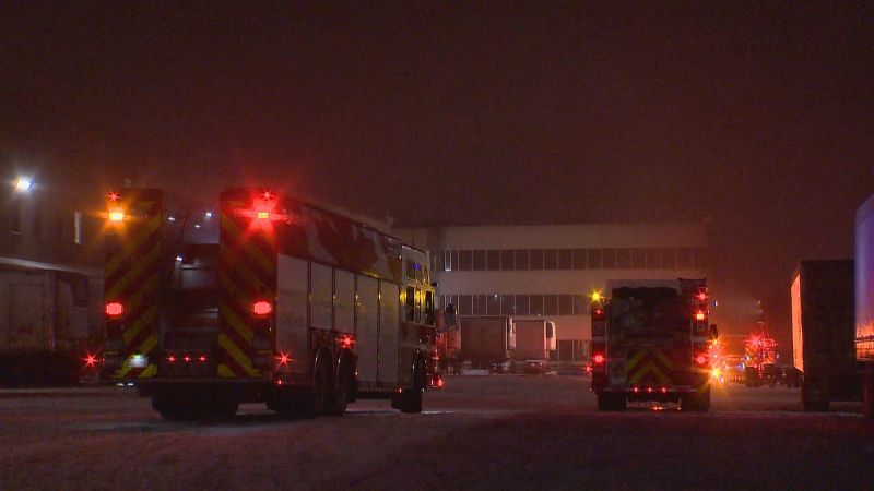 Calgary firefighters respond to reports of a potential ammonia leak in the 4600 block of 72 Avenue S.E. on Monday, Jan. 15, 2018.
