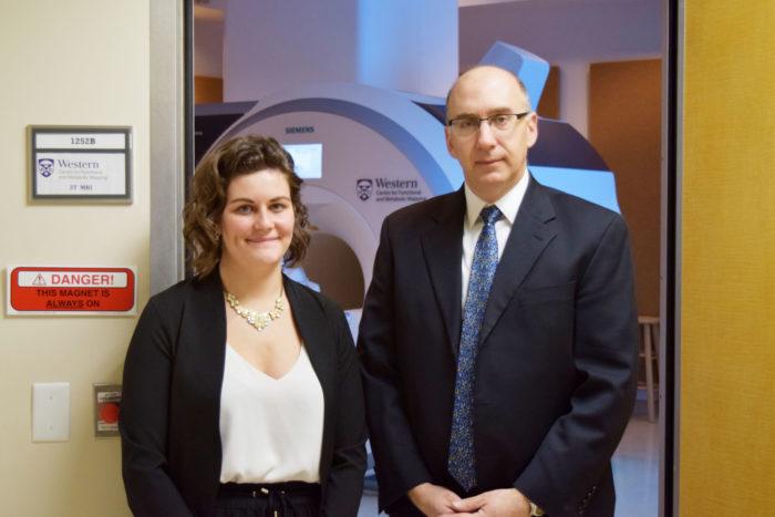 PhD candidate Amy Schranz and professor and scientist Robert Bartha, PhD.