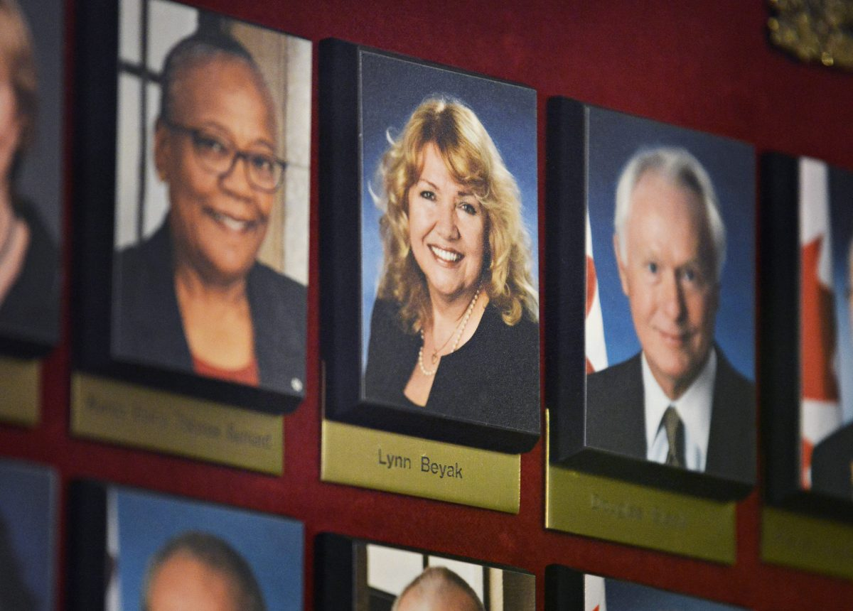 A picture of Conservative Senator Lynn Beyak hangs in a hallway on Parliament Hill in Ottawa on Thursday, September 21, 2017.