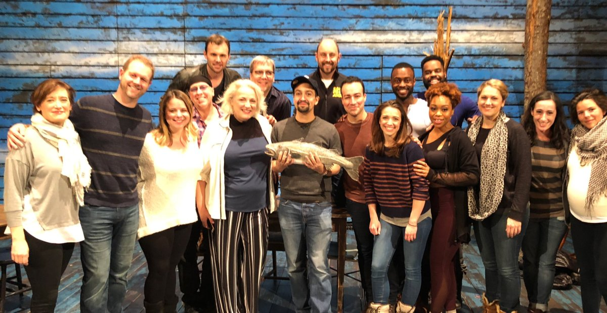 "Lin-Manuel Miranda, the creator of the Broadway hit ""Hamilton"", poses with the cast of ""Come From Away""."