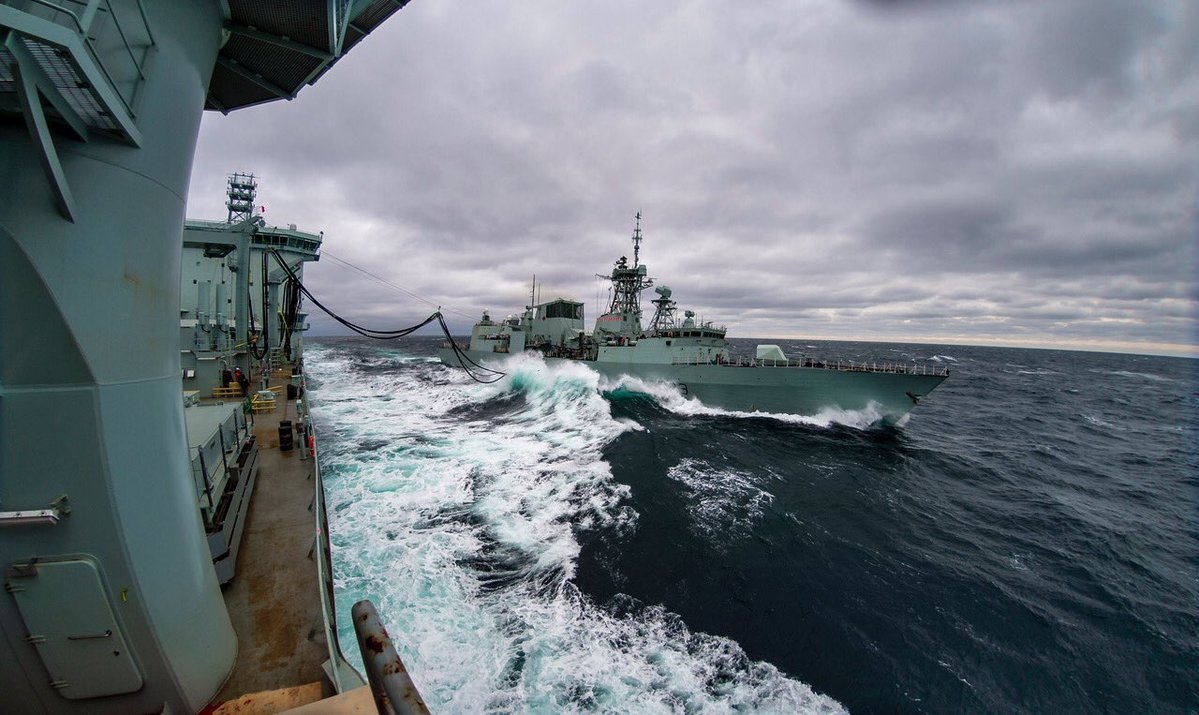FILE - MS Asterix transfers fuel for the first time to HMCS Toronto on Jan. 15, 2017.