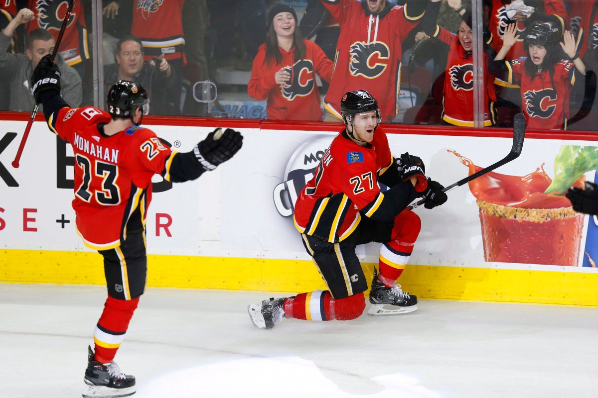 Calgary Flames defenceman Dougie Hamilton (27) celebrates his game winning goal with teammate Sean Monahan (23) during the third period of their NHL hockey game against the Anaheim Ducks in Calgary, Sunday, Jan. 7, 2018. THE CANADIAN PRESS/Todd Korol.
