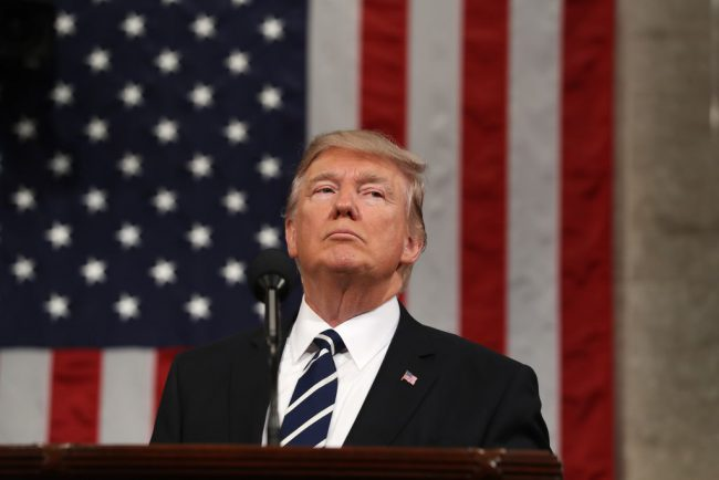 U.S. President Donald J. Trump delivers his first address to a joint session of Congress from the floor of the House of Representatives in Washington, Feb. 28, 2017.
