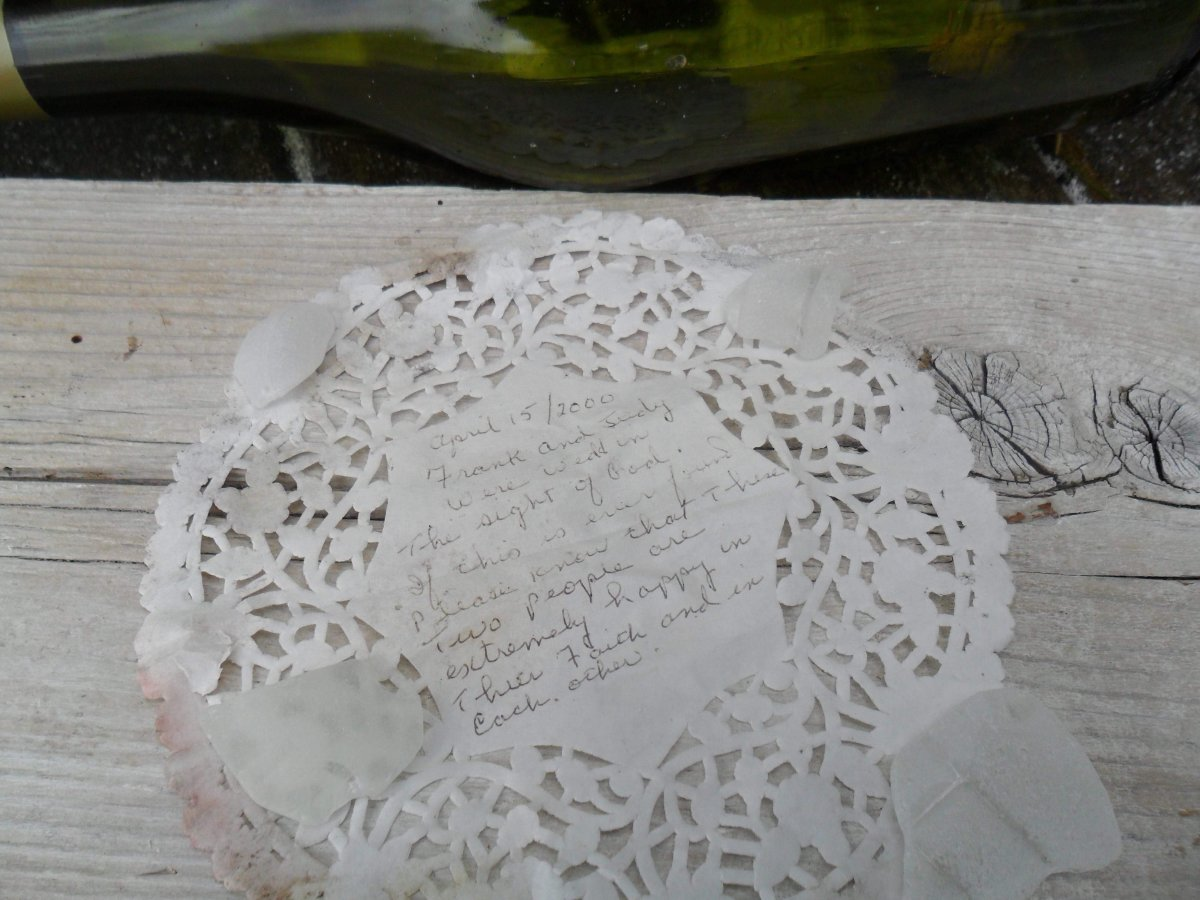 A Nova Scotia woman is hoping to find the couple who wrote a wedding day message and placed it in a bottle nearly 18 years ago.