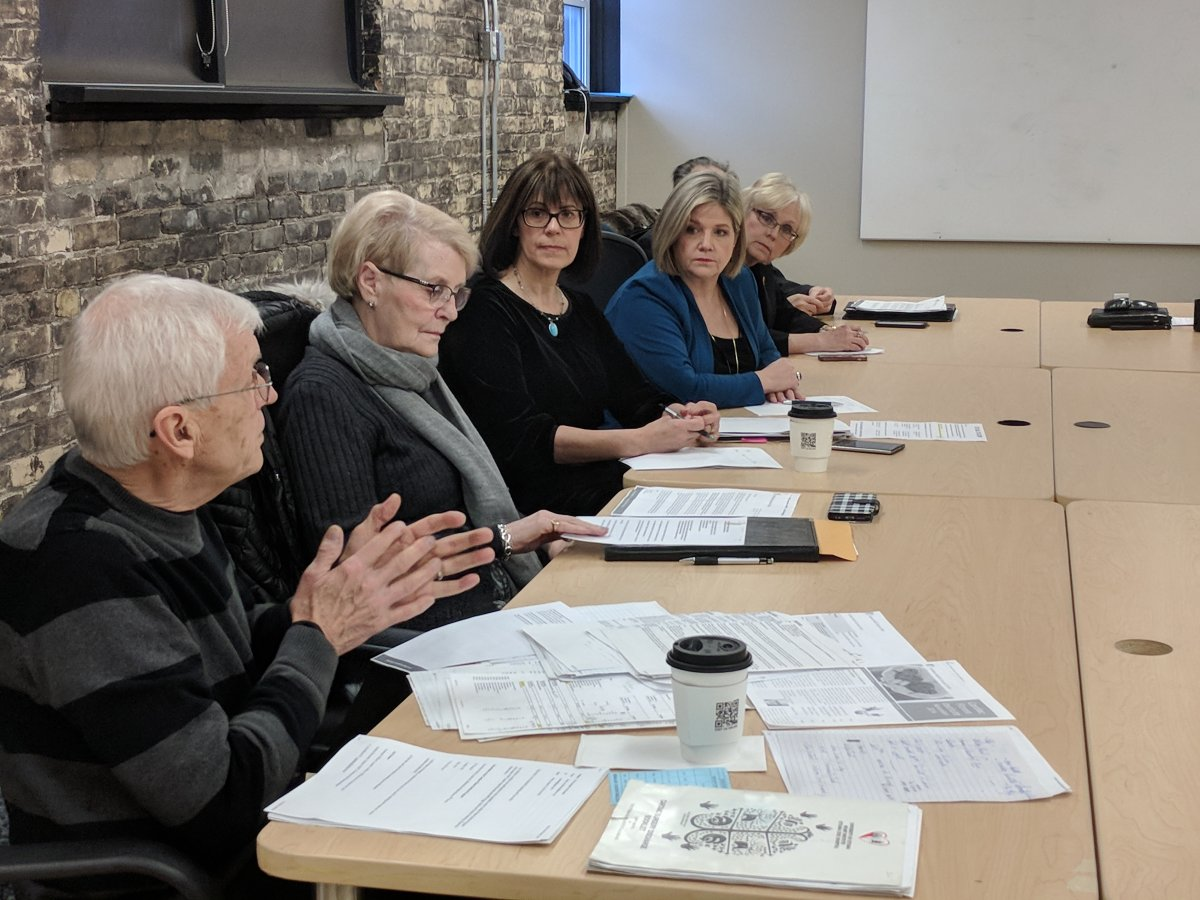 Provincial NDP Leader Andrea Horvath listens to current and former patients of London Health Science Centre's Cardiac Fitness Institute. (Photo by Jake Jeffrey/980 CFPL).
