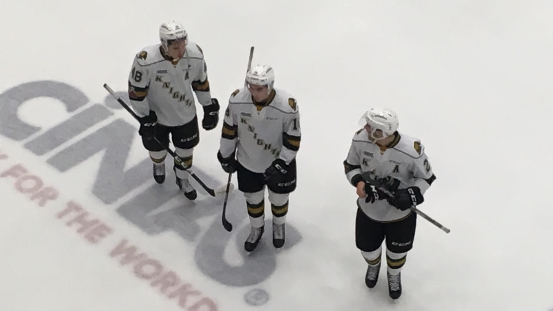 The three goal scorers from the London Knights' 5-1 win over the Sudbury Wolves leave the ice at the end of the game. (L-R) Sam Miletic, Liam Foudy and Evan Bouchard.