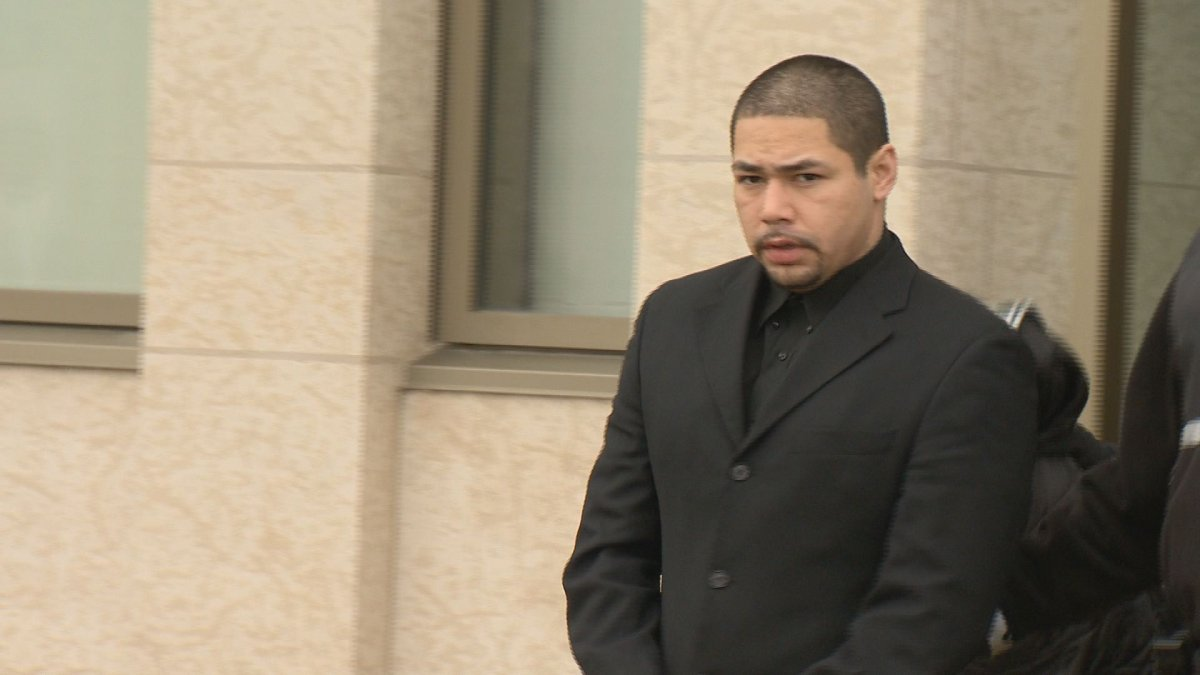 Michael Bellegarde, 24, exits court Wednesday. The Crown is expected to call its case Monday.