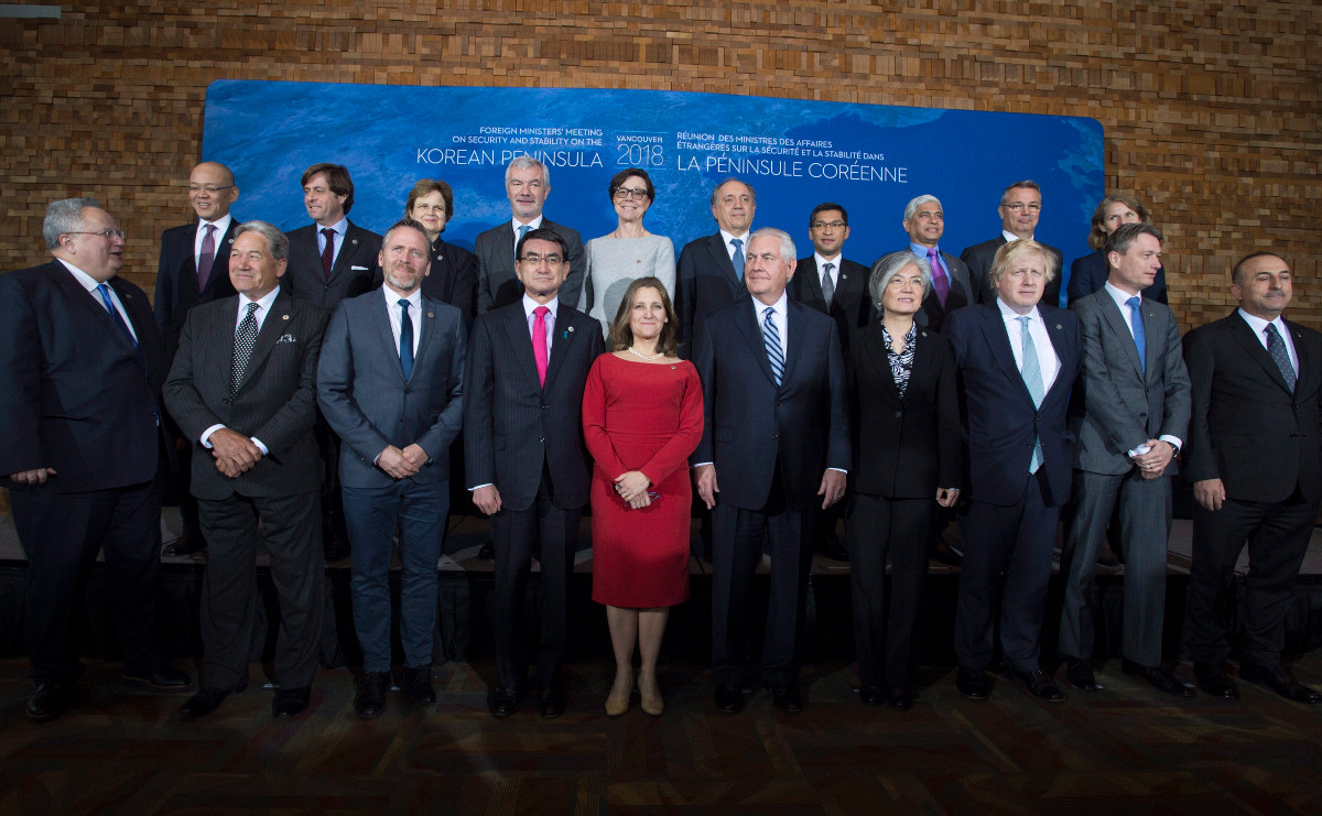 Chrystia Freelandstands out at a meeting with global foreign ministers in January. Is there a way to get more women involved in politics?.