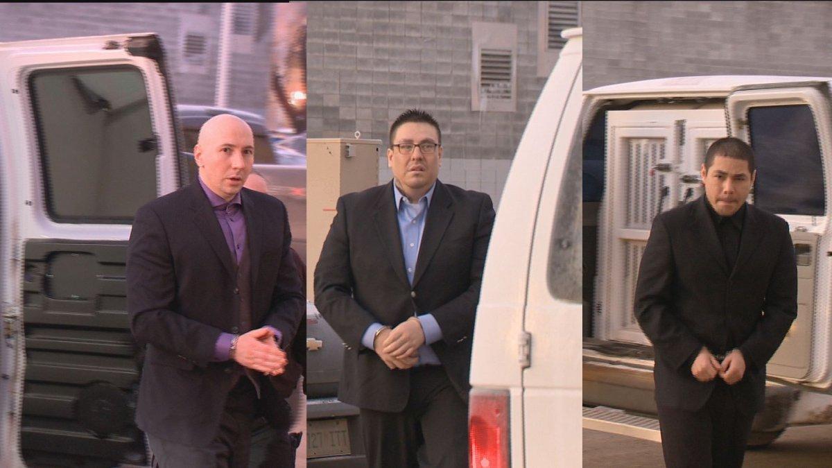 (From left to right) Daniel Theodore, 34, Bronson Gordon, 33, and Andrew Michael Bellegarde, 24, are led to court for their first degree murder trial.