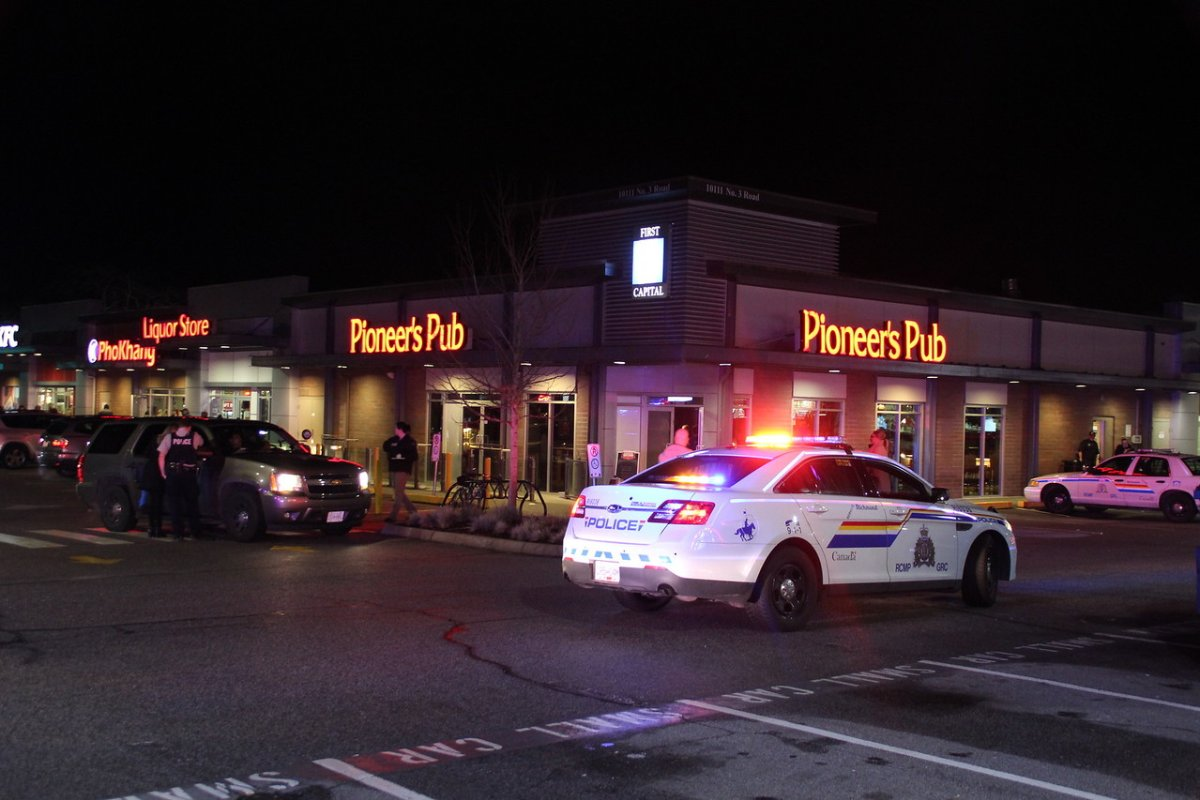 Heavy police presence at the Pioneer Pub in Richmond Thursday night.