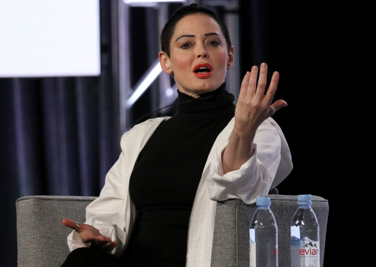 """Rose McGowan participates in the """"Citizen Rose"""" panel during the NBCUniversal Television Critics Association Winter Press Tour on Tuesday, Jan. 9, 2018, in Pasadena, Calif."""