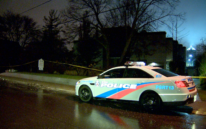 A Toronto police cruiser is seen in front of Barry and Honey Sherman's Old Colony Road early Friday morning.