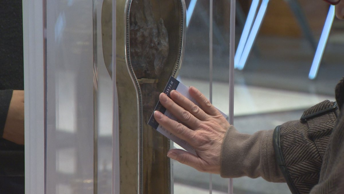 Hundreds have gathered at a Winnipeg church to touch a piece of St. Francis Xavier.