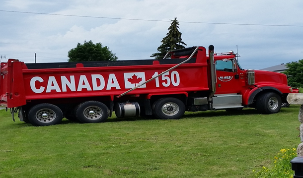 Cobourg police are looking for a stolen dump truck.