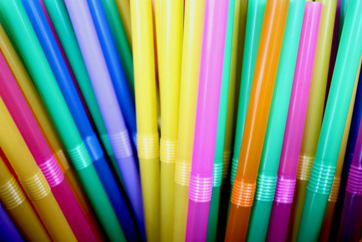 As assortment of multi-coloured straws.
