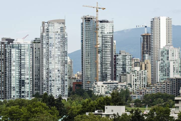 A scenic view of Vancouver's False Creek real estate as seen from the Fairview Slopes neighbourhood, Vancouver, B.C. on Tuesday, August 15, 2017.