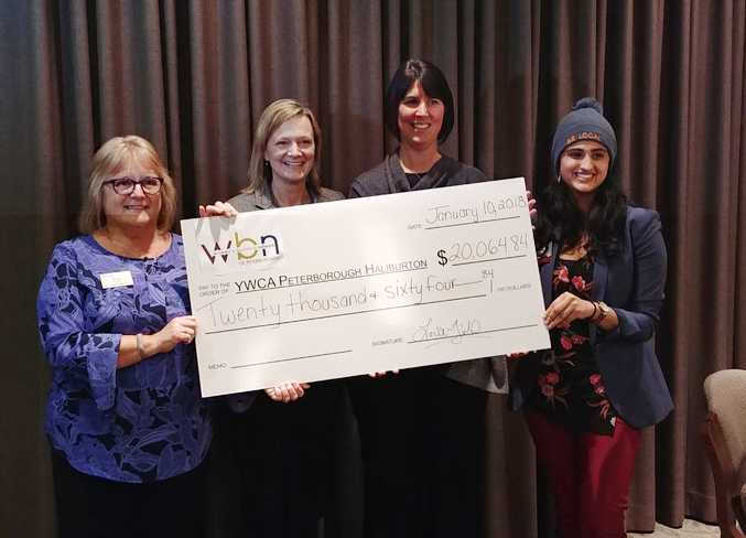 The Women's Business Network presented a $20,000 cheque to the YWCA Crossroad Shelter to support its nutritional well-being program.