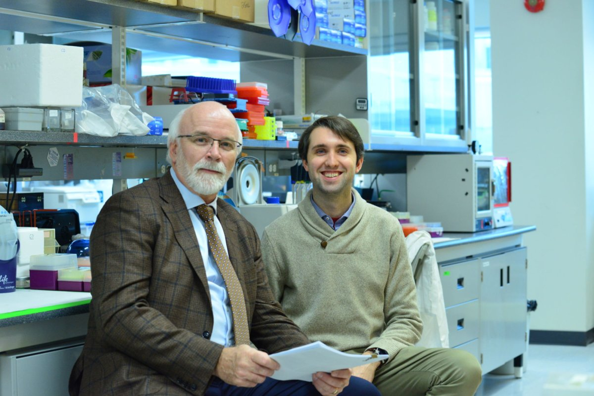 Dr. Michael Strong and Alex Moszczynski, PhD, in the lab at Robarts Research Institute at Western University.