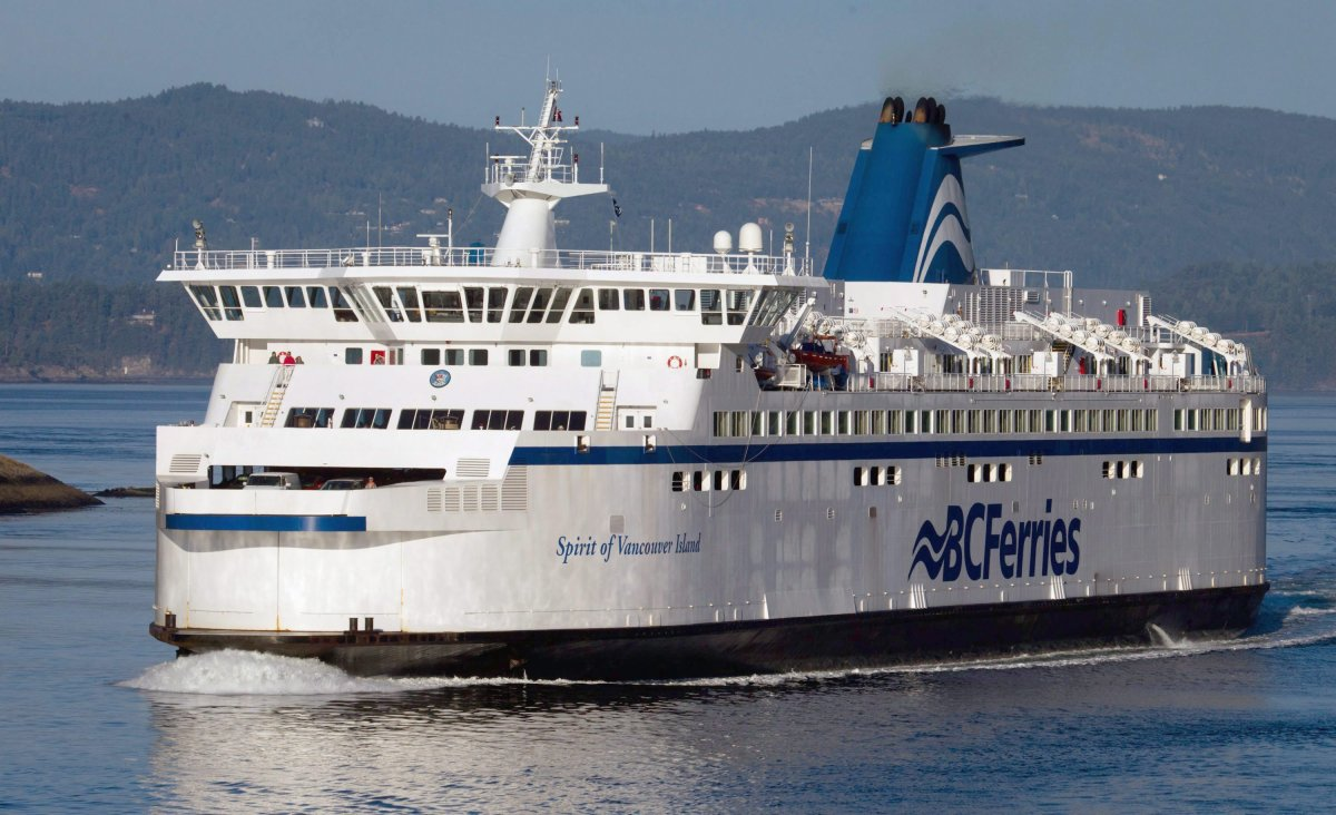 BC Ferries was forced to delay unloading a vessel in Nanaimo on Saturday, after a group of anti-mask protesters became belligerent.