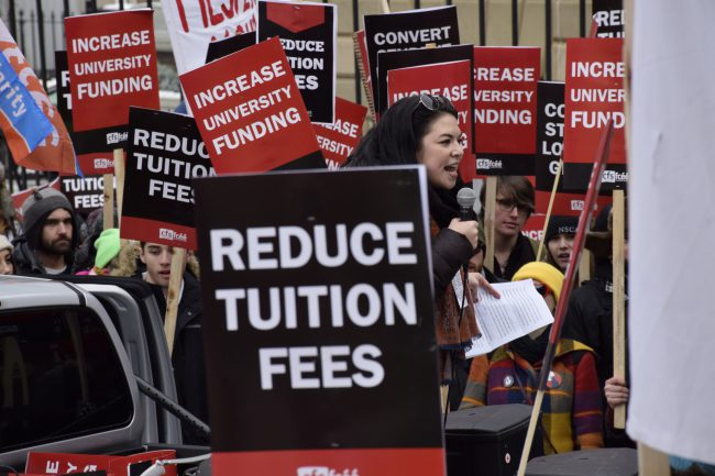 Students protest high tuition fees in Halifax, N.S., Feb. 4, 2015.