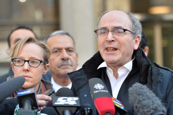 Defense lawyer John Norris speaks to reporters outside a courthouse in Toronto in 2015.