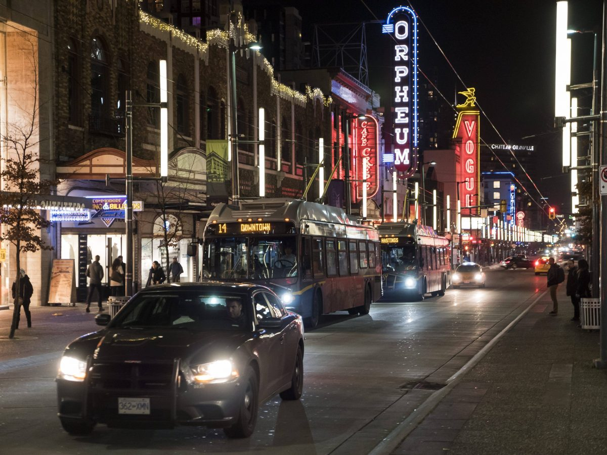 Bright lights and traffic along the Granville Mall, downtown Vancouver, B.C., January 4, 2016.