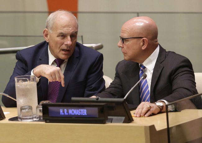 White House Chief of Staff John Kelly, left, and U.S. National Security Advisor H.R. McMaster speak before a meeting during the United Nations General Assembly at UN headquarters, Sept. 18, 2017.