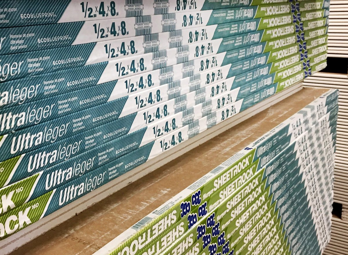 Wallboard is seen in a Halifax-area building supply store on Saturday, Feb. 3, 2018.