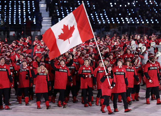 Team Canada seen during the Opening Ceremony of the 2018 Winter Olympics in Pyeongchang, South Korea, February 9, 2018.