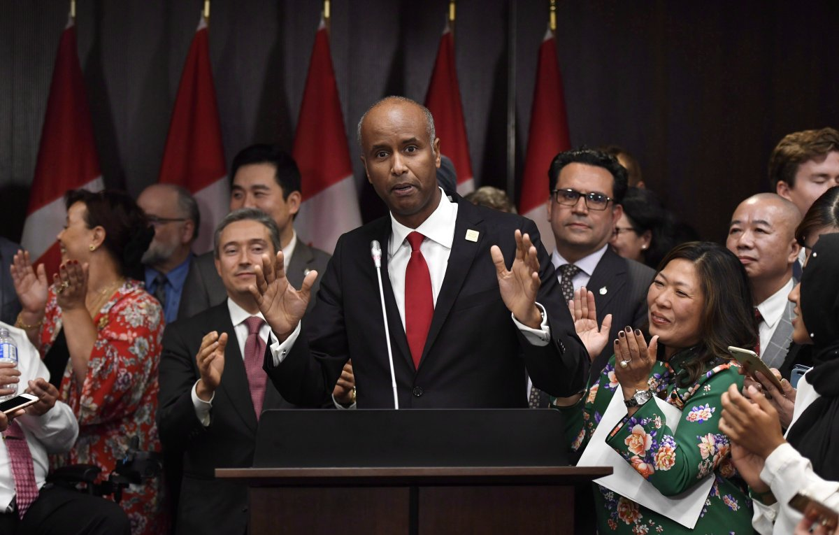 Minister of Immigration, Refugees and Citizenship Ahmed Hussen speaks during a Mid-Autumn Festival celebration in Ottawa on Wednesday, Oct. 4, 2017.