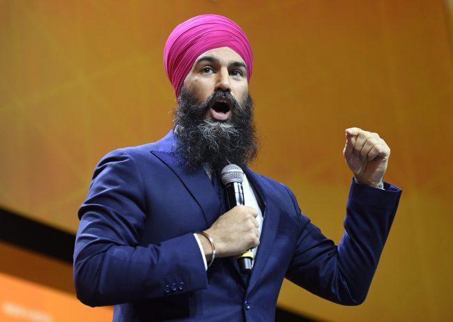 NDP Leader Jagmeet Singh speaks during the Federal NDP Convention in Ottawa, Feb. 17, 2018.