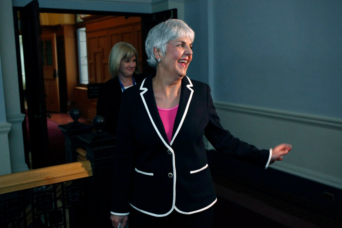 Finance Minister Carole James arrives at caucus before delivering the budget from the legislative assembly at Legislature in Victoria, B.C., on Tuesday, February 20, 2018.