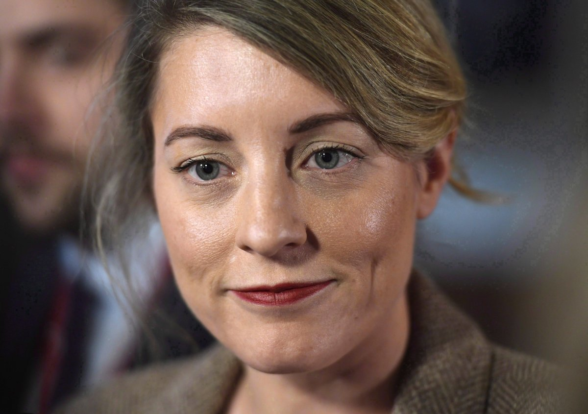 Minister of Canadian Heritage Melanie Joly speaks to reporters after leaving a cabinet meeting on Parliament Hill in Ottawa on February 6, 2018.