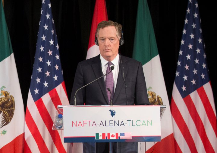 Robert Lighthizer makes statements to the media following NAFTA round six renegotiations in Montreal.