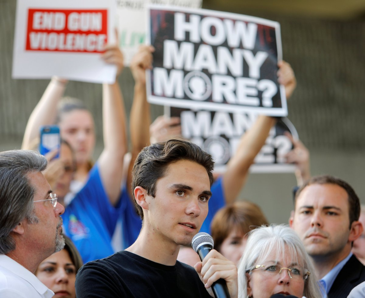 David Hogg, a senior at Marjory Stoneman Douglas High School, speaks at a rally calling for more gun control three days after the shooting at his school, in Florida.