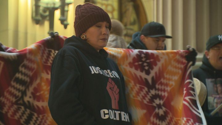 One week after a jury acquitted a Saskatchewan farmer in the shooting death of 22-year-old Colten Boushie, a rally was held at the Alberta legislature to honour Boushie's life and to show support for his family.