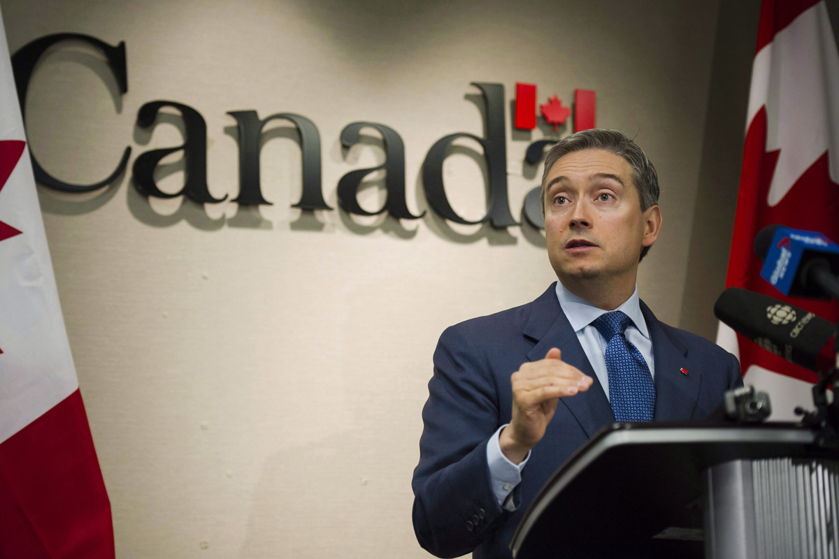 Minister of International Trade Francois-Philippe Champagne speaks to press about the Comprehensive and Progressive Agreement for Trans-Pacific Partnership, in Toronto on Tuesday, January 23, 2018.