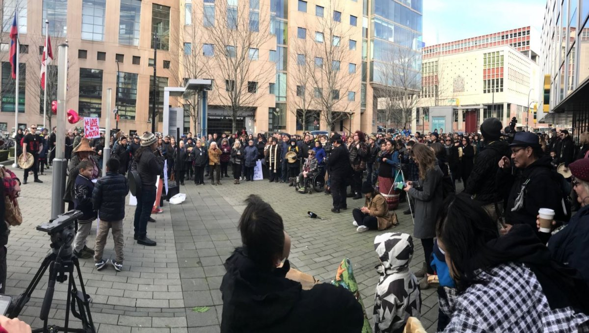 Hundreds gather in Vancouver in honour of Colten Boushie.